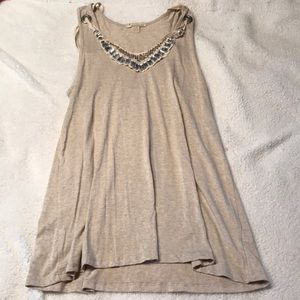 Long loose cream embellished tank top